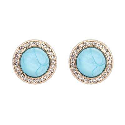 Packaging Light Blue Diamond Decorated Round Shape Design Alloy Stud Earrings