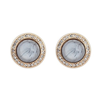 Aquamarine Gray Diamond Decorated Round Shape Design Alloy Stud Earrings