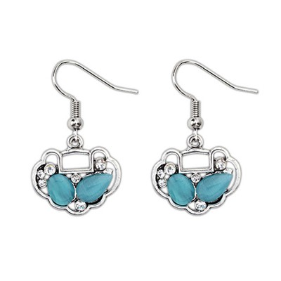 Flirty Blue Gemstone Decorated Longevity Lock Shape Design Alloy Korean Earrings