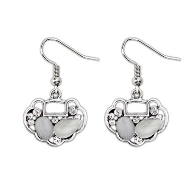 Cheerleadi Beige Gemstone Decorated Longevity Lock Shape Design Alloy Korean Earrings