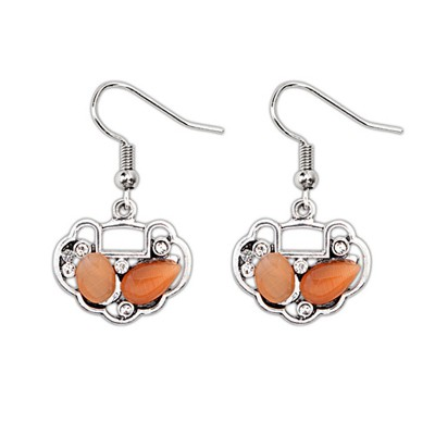 Couture Orange Gemstone Decorated Longevity Lock Shape Design Alloy Korean Earrings
