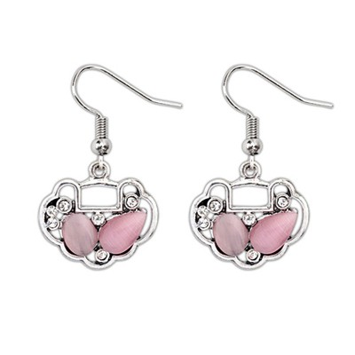 Collapsibl Pink Gemstone Decorated Longevity Lock Shape Design Alloy Korean Earrings