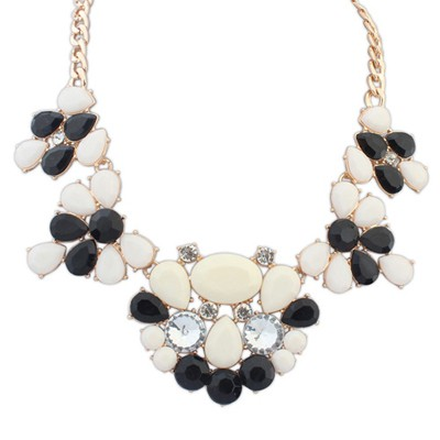 Rugged Black & Beige Gemstone Decorated Waterdrop Shape Design Alloy Bib Necklaces