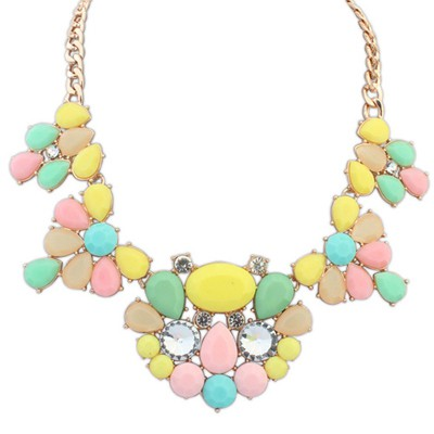 Padded Multicolor Gemstone Decorated Waterdrop Shape Design Alloy Bib Necklaces