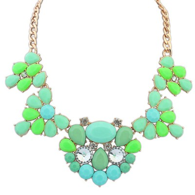 Amethyst Green Gemstone Decorated Waterdrop Shape Design Alloy Bib Necklaces