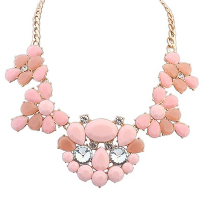 Cardboard Pink Gemstone Decorated Waterdrop Shape Design Alloy Bib Necklaces