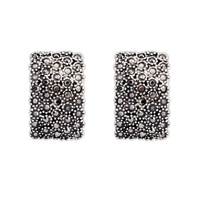 Cubic Black Diamond Decorated Rectangular Shape Design Alloy Stud Earrings