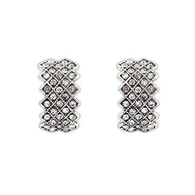 Lilac White Diamond Decorated Geometrical Shape Design Alloy Stud Earrings