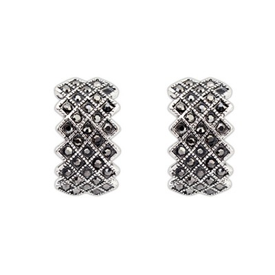 Stainless Black Diamond Decorated Geometrical Shape Design Alloy Stud Earrings