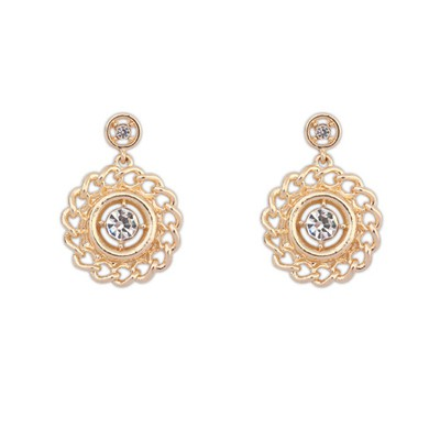 Latest Gold Color Diamond Decorated Round Shape Design Alloy Stud Earrings