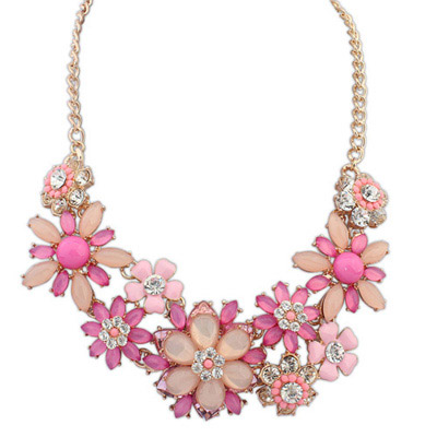 Blank Purple Red Gemstone Decorated Flower Design Alloy Bib Necklaces
