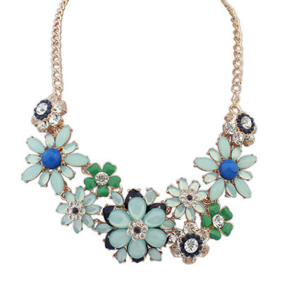 Memorable Light Blue Gemstone Decorated Flower Design Alloy Bib Necklaces