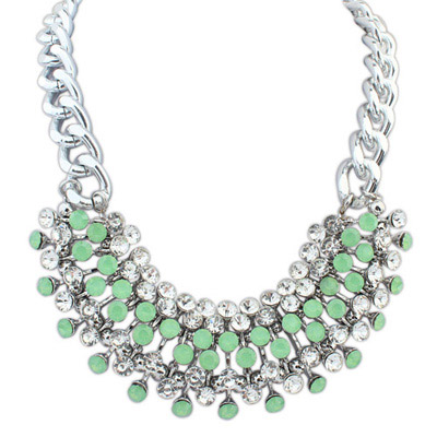 Velvet Green Diamond Decorated Simple Design Alloy Bib Necklaces