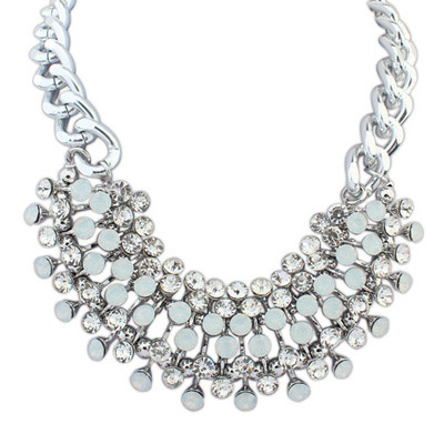 Sling White Diamond Decorated Simple Design Alloy Bib Necklaces