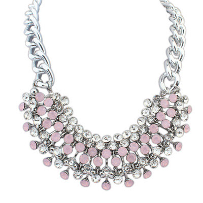 Plus Size Pink Diamond Decorated Simple Design Alloy Bib Necklaces