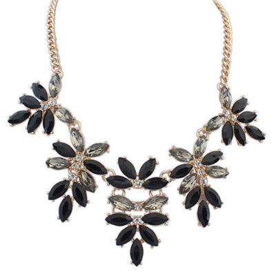 Wishbone Black Gemstone Decorated Leaf Shape Design Alloy Bib Necklaces