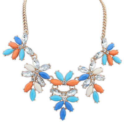 Bead Multicolor Gemstone Decorated Leaf Shape Design Alloy Bib Necklaces