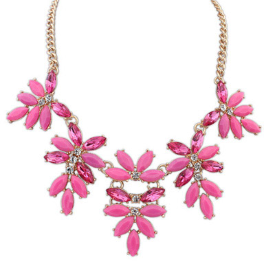 Formal Purple Red Gemstone Decorated Leaf Shape Design Alloy Bib Necklaces