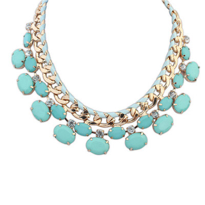 Cardboard Blue Gemstone Decorated Oval Shape Design Alloy Bib Necklaces