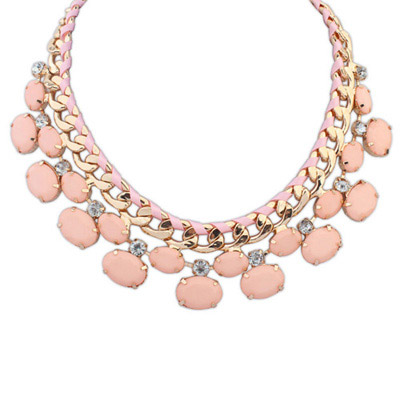 Lightning Pink Gemstone Decorated Oval Shape Design Alloy Bib Necklaces