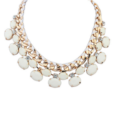 Baroque White Gemstone Decorated Oval Shape Design Alloy Bib Necklaces