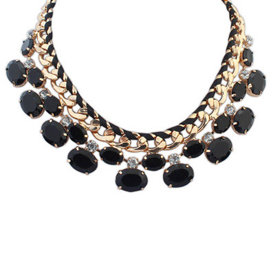 Mexican Black Gemstone Decorated Oval Shape Design Alloy Bib Necklaces