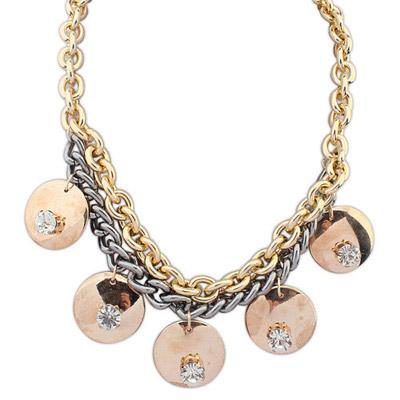 Unique Rose Gold Diamond Decorated Round Pendant Design Alloy Bib Necklaces
