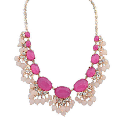 Sapphire Purple Red Diamond Decorated Fan Shape Design Alloy Bib Necklaces