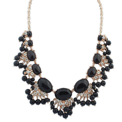 Hiking Black Diamond Decorated Fan Shape Design Alloy Bib Necklaces