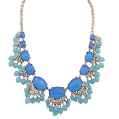 Montgomery Blue Diamond Decorated Fan Shape Design Alloy Bib Necklaces