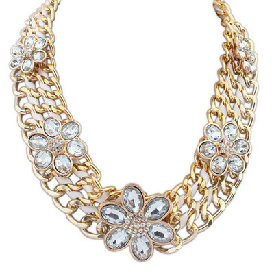 Posh White Flower Decorated Multilayer Design Alloy Bib Necklaces