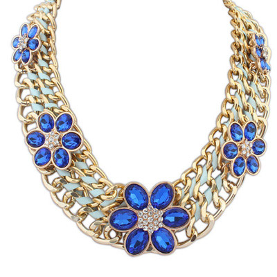 Rebel Blue Flower Decorated Multilayer Design Alloy Bib Necklaces