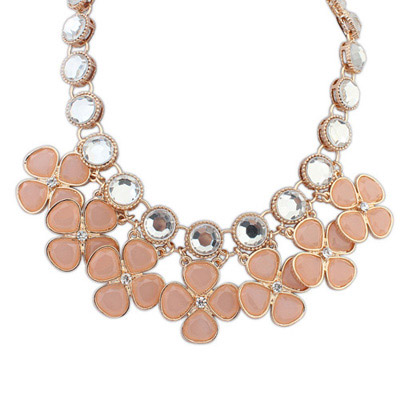 24K Light Pink Gemstone Decorated Clover Shape Design Alloy Bib Necklaces