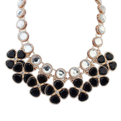 Funky Black Gemstone Decorated Clover Shape Design Alloy Bib Necklaces