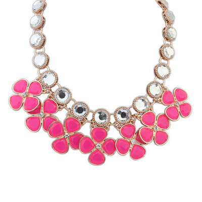 Asian Plum Red Gemstone Decorated Clover Shape Design Alloy Bib Necklaces