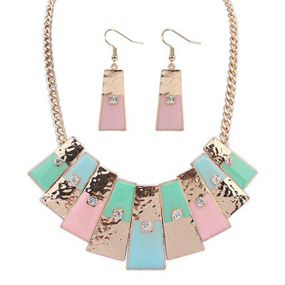 Double Multicolor Diamond Decorated Geometrical Shape Design Alloy Jewelry Sets