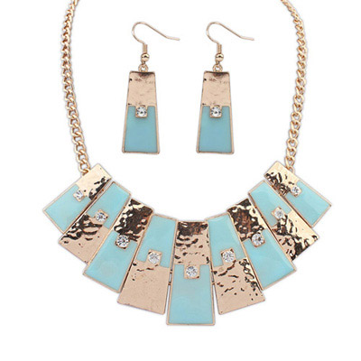Wholesale Light Blue Diamond Decorated Geometrical Shape Design Alloy Jewelry Sets