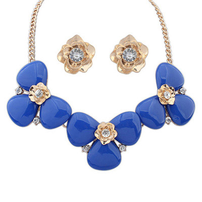 Invitation Sapphire Blue Diamond Decorated Flower Design Alloy Jewelry Sets