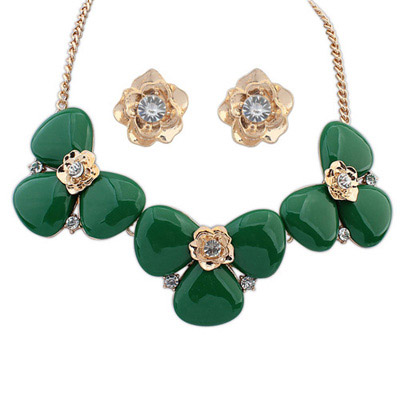 Stretch Green Diamond Decorated Flower Design Alloy Jewelry Sets