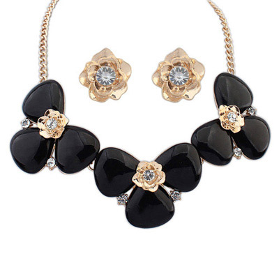 Japanese Black Diamond Decorated Flower Design Alloy Jewelry Sets