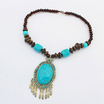 Stretch Blue Oval Gemstone Decorated Tassel Design Alloy Bib Necklaces