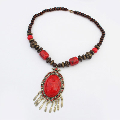 Old Red Oval Gemstone Decorated Tassel Design Alloy Bib Necklaces