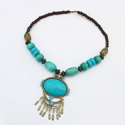 Graduated Blue Oval Gemstone Decorated Tassel Design Alloy Beaded Necklaces