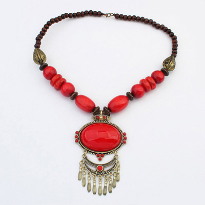 Infinity Red Oval Gemstone Decorated Tassel Design Alloy Beaded Necklaces