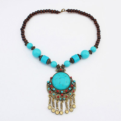 Executive Blue Round Gemstone Decorated Tassel Design Alloy Bib Necklaces