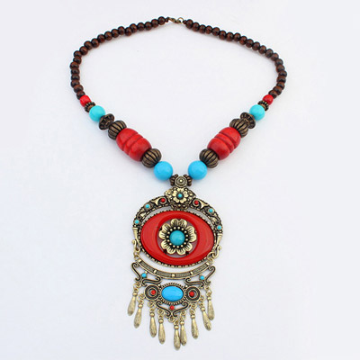 Fashion Red Flower Decorated Taseel Design Alloy Beaded Necklaces