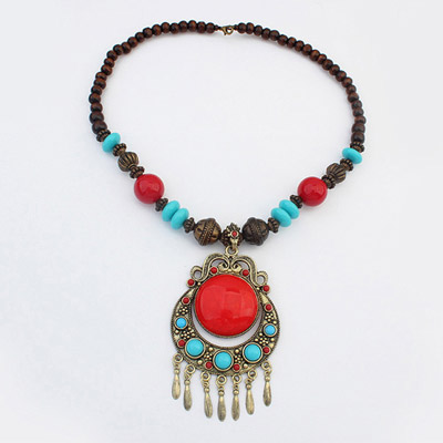 Free Red Moon Pendant Decorated Tassel Design Alloy Beaded Necklaces