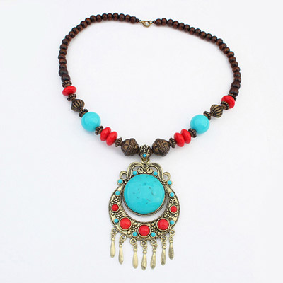 Glueless Blue Moon Pendant Decorated Tassel Design Alloy Bib Necklaces
