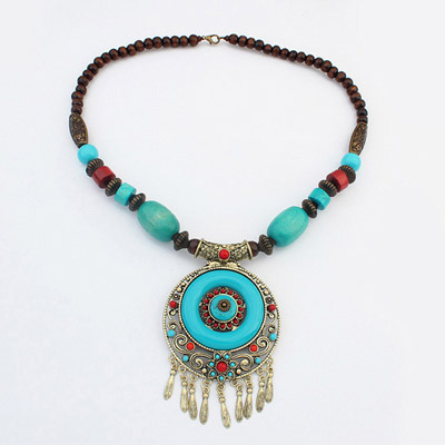 Turquoise Blue Round Pendant Decorated Tassel Design Alloy Bib Necklaces