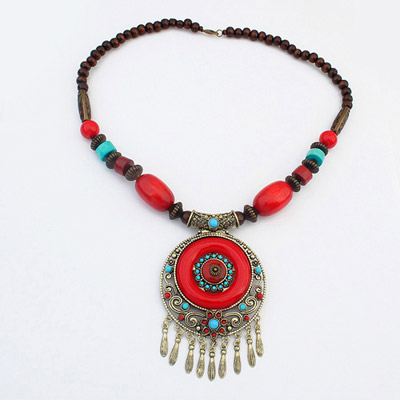Glueless Red Round Pendant Decorated Tassel Design Alloy Beaded Necklaces